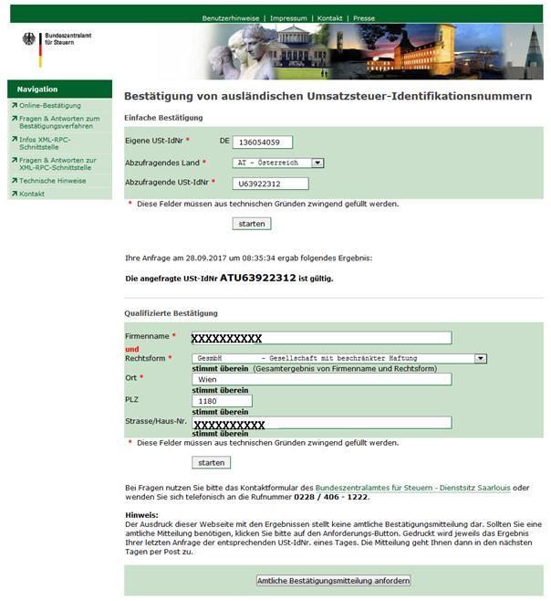 KARTONFRITZE.de - Umsatzsteuerverifikation