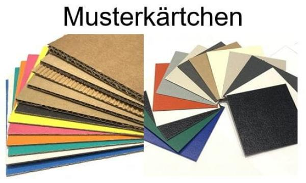 Materialmusterkärtchen Wellpappe und Vollpappe